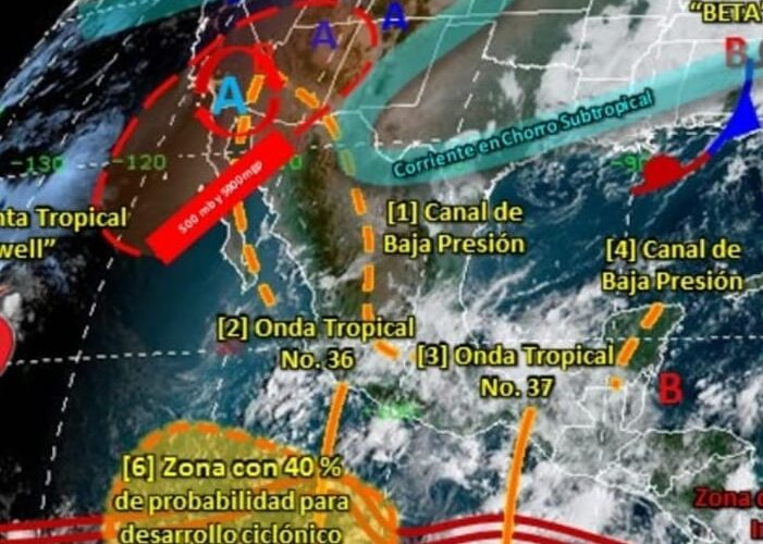 LA ONDA TROPICAL NO. 37 PROVOCARÁ LLUVIAS DE MODERADAS A FUERTES EN GUERRERO ESTE FIN DE SEMANA