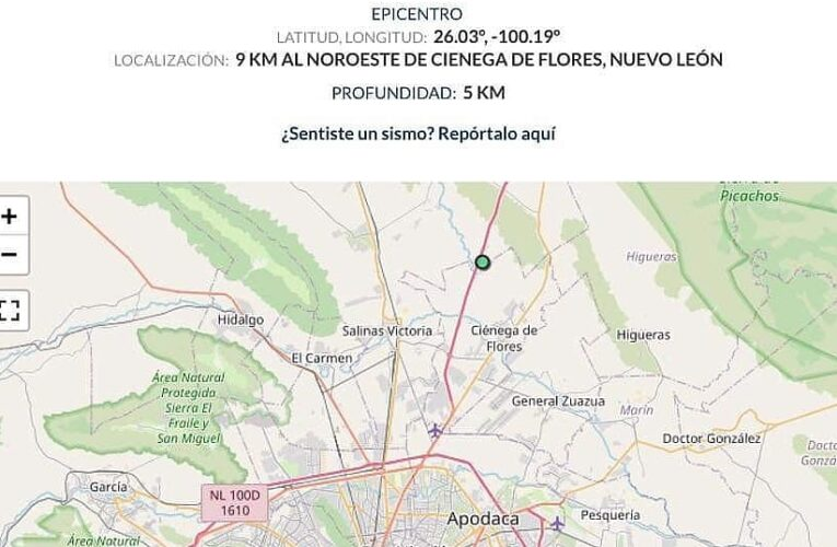 SE REGISTRA SISMO EN ZONA METROPOLITANA DE MONTERREY.