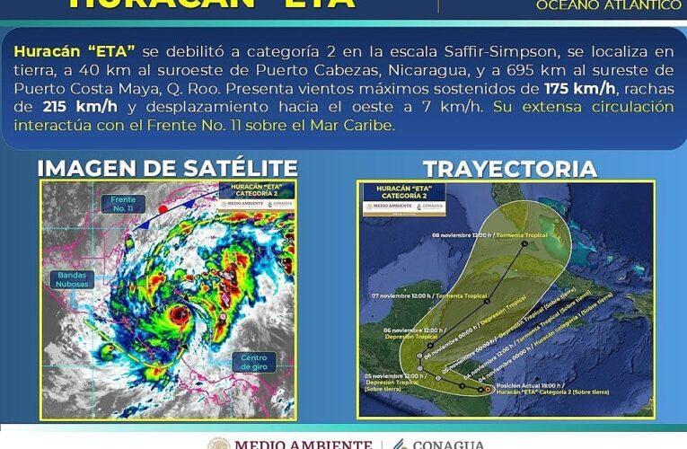 Eta se debilita a #Huracán categoría 2 en la escala #SaffirSimpson. Se ubica a 695 km al sureste de Puerto Costa Maya.
