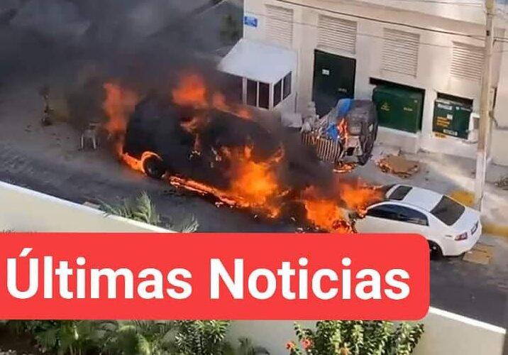 DELINCUENTES ARMADOS INCENDIAN AUTOS DE TURISTAS EN COSTA AZUL.