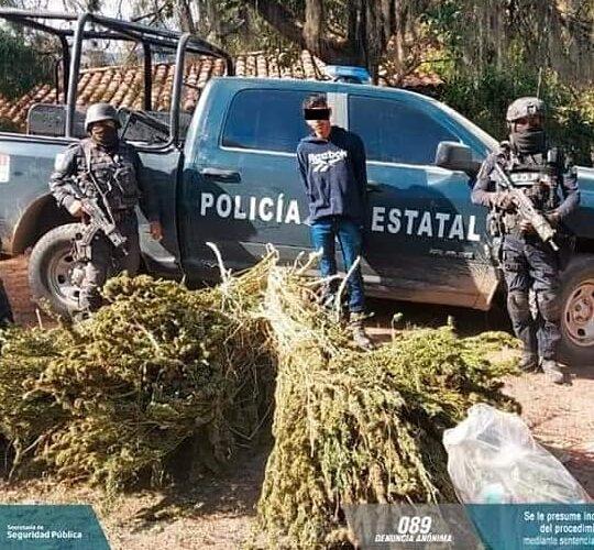 """Asegura el Grupo """"Jaguar"""" y la Policía Estatal a tipo y presunta droga en el municipio de Tetipac."""