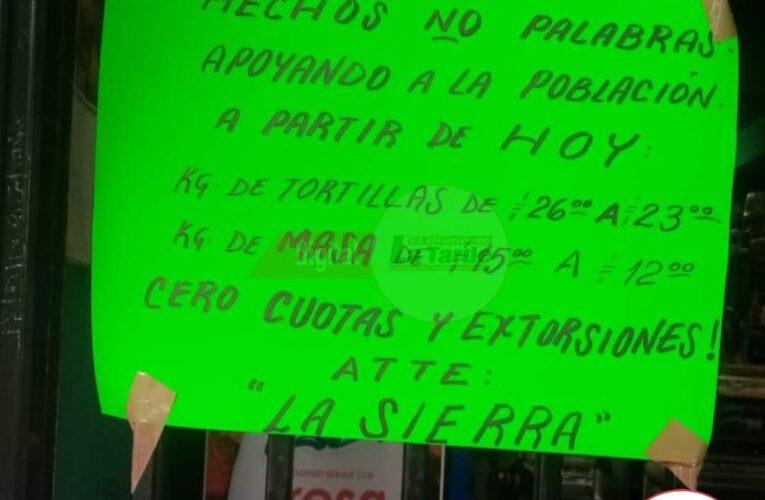 Anuncia descuentos en la masa y la tortilla grupo delincuencial en Iguala.